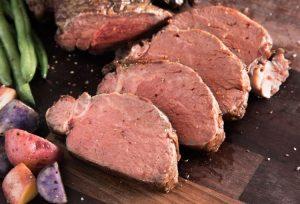 Organic Grass Fed beef tenderloin with russet potatoes