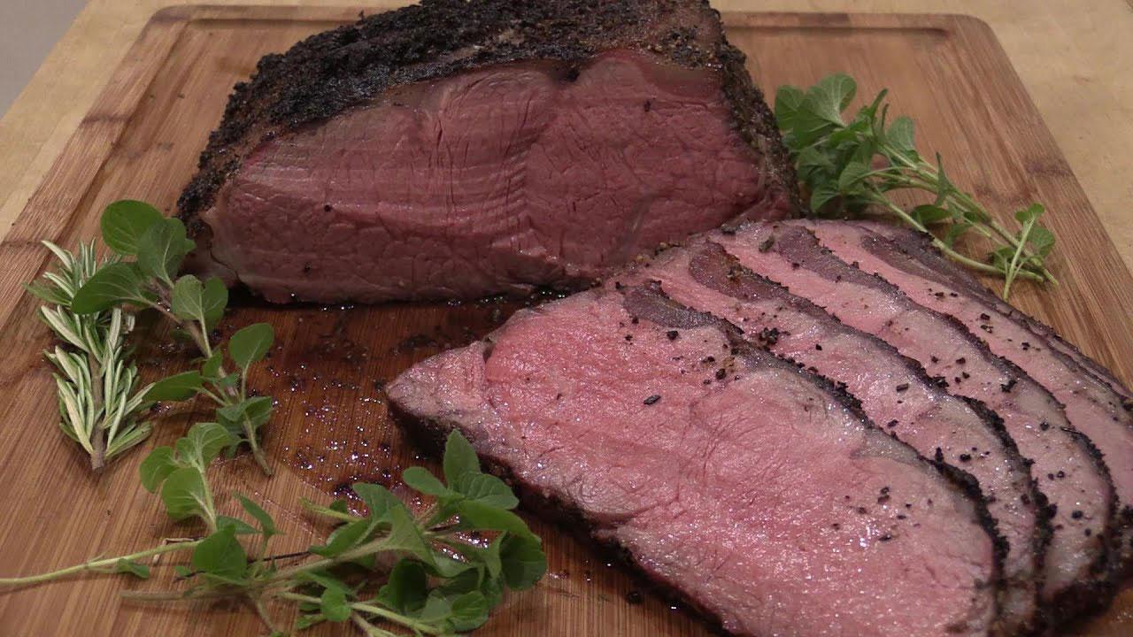 Organic grass fed beef striploin roast with an organic dry rub