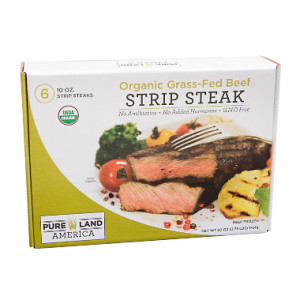 organic grass fed cattle farms are the source of pureland america strip steak