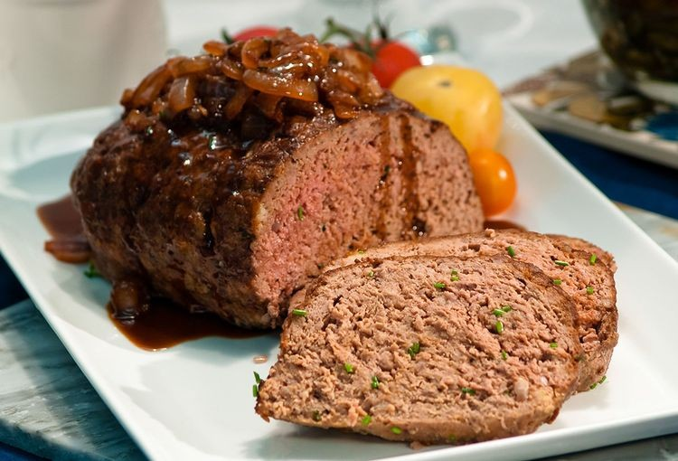 Organic Grass Fed Beef meatloaf cooked to medium rare