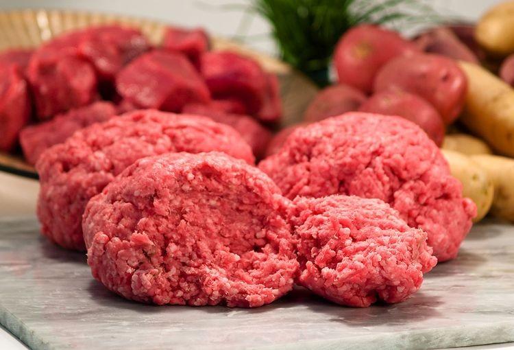 organic grass fed ground beef into meatballs