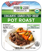 label for pureland america organic grass fed pot roast beef