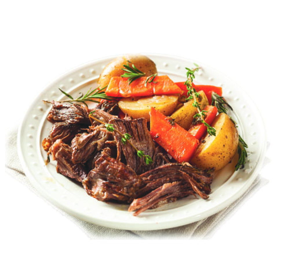 Organic Grass Fed Beef roast crockpot with potatoes and carrots