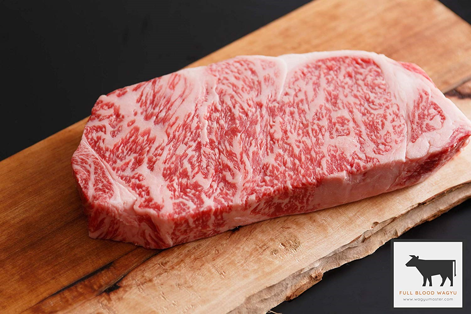 wagyu beef on a wooden cutting board