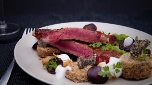 organic, grass-fed steak on a plate